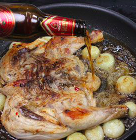 pollo birra patate